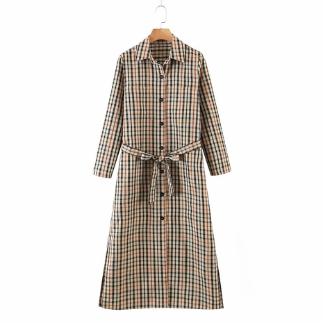 new fashion plaid print lace lapel long dress NHAM319095's discount tags