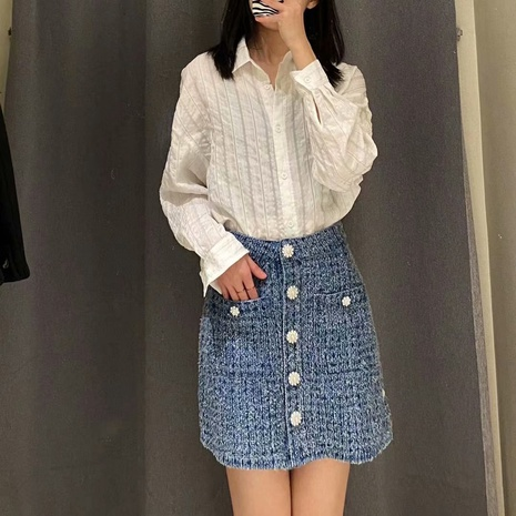 fashion simple denim skirt NHAM319101's discount tags