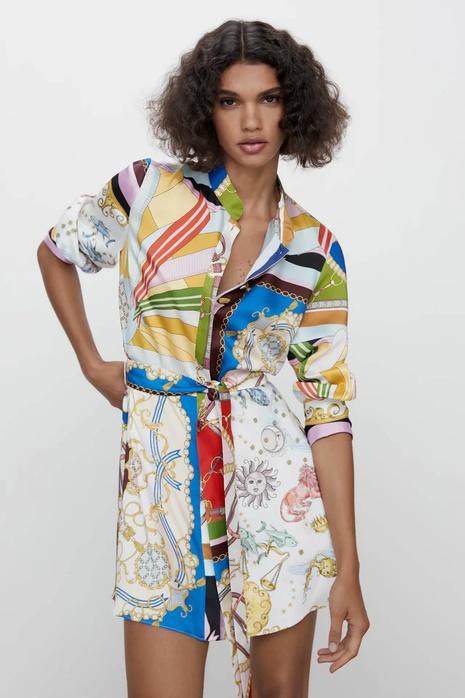 fashion print long sleeve dress NHAM319102's discount tags