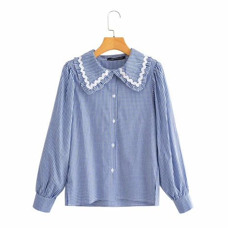 fashion plaid print lace embroidery shirt NHAM319109's discount tags