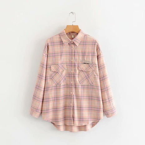 fashion plaid cardigan embroidery lapel long sleeve loose shirt  NHAM319129's discount tags