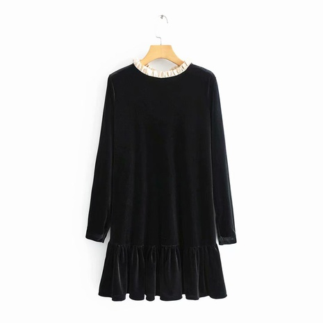 retro loose elegant velvet ribbon long sleeve dress  NHAM319137's discount tags