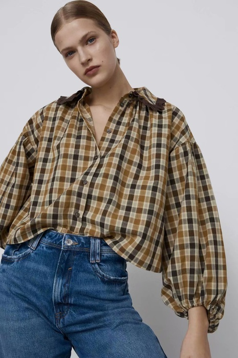 Mode Revers Plaid Retro Puffärmel Shirt Top NHAM319135's discount tags