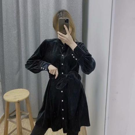 neue Mode Bowknot Gürtel Knopf Samt Kleid NHAM319139's discount tags