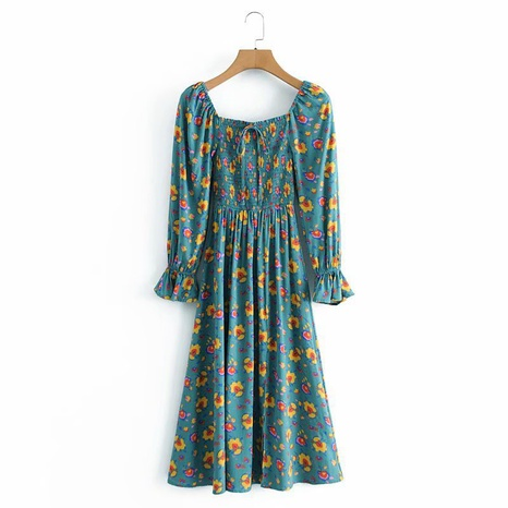 fashion rayon watermarked floral long-sleeved dress NHAM319148's discount tags