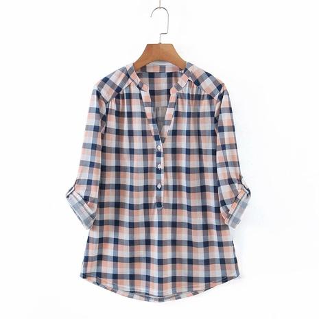 Mode blau weiß Gitter einfaches loses Hemd NHAM319149's discount tags
