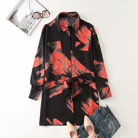 new fashion tie-dye watermark printing loose shirt dress NHAM319151's discount tags