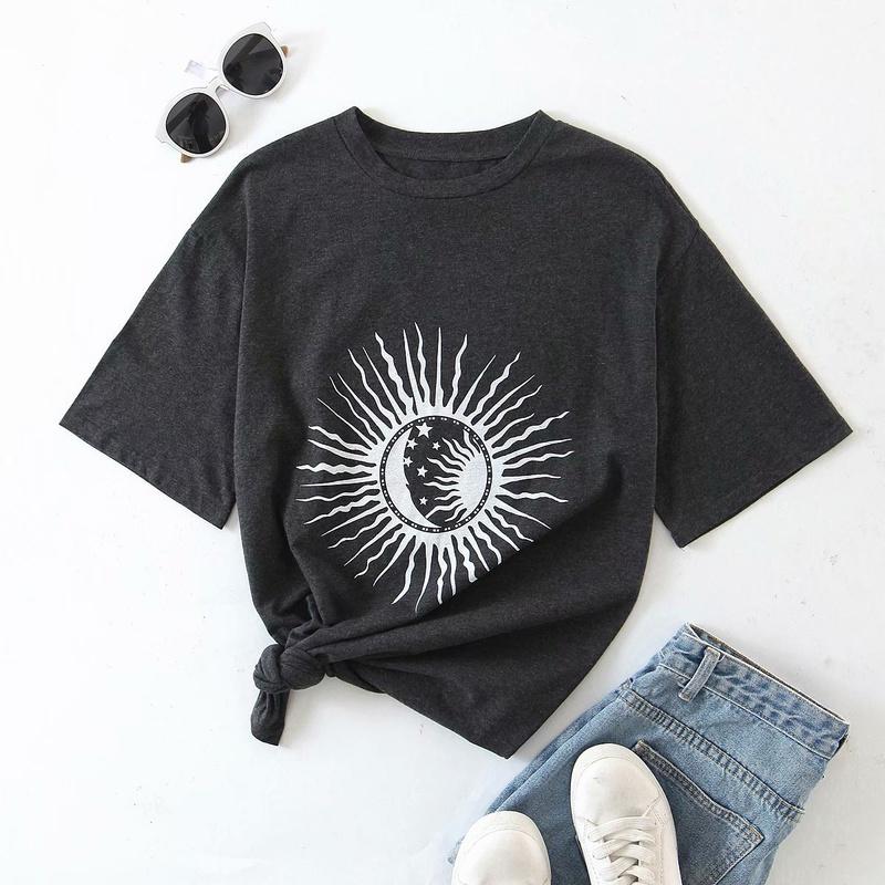 spring sun printing loose womens Tshirt NHAM319179