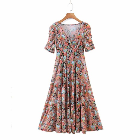 new fashion sleeves pleated two-piece printed V-neck dress NHAM319188's discount tags