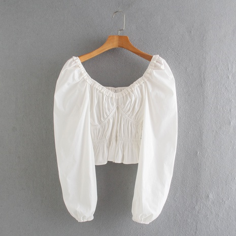 fashion Elastic Waist Ruffled Hem Long Sleeve Top NHAM319190's discount tags