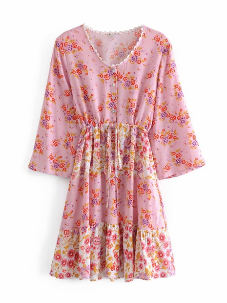 fashion printing V-neck tie waist dress NHAM319193's discount tags