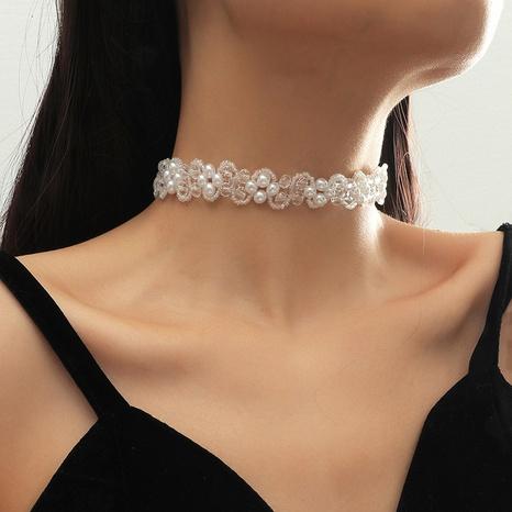 adorable collier de fleurs en cristal de perles NHLA319201's discount tags