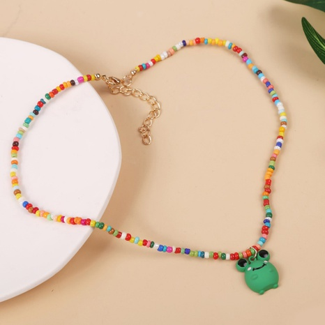 colorful cute frog pendant necklace NHLA319205