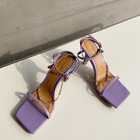 new simple fashion chain buckle sandals NHHU319250's discount tags