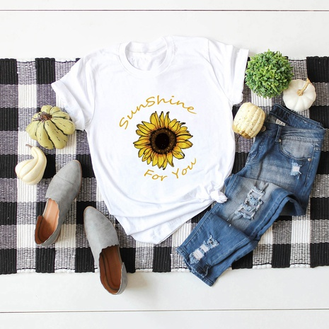 pure color letter sunflower cotton T-shirt  NHSN319359's discount tags