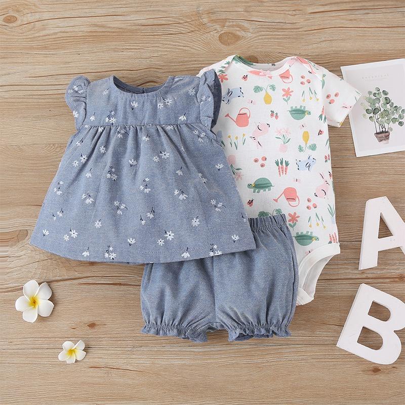 baby print romper shorts threepiece suit NHLF319379