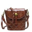 Retro oil leather shoulder bag Korean diamond woven messenger bag bucket bag NHJZ319457
