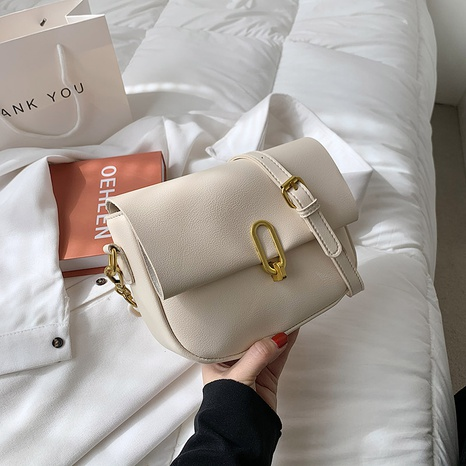 Fashion white saddle bag solid color clutch messenger bags NHJZ319462's discount tags
