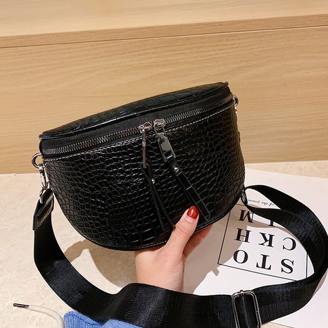 Fashion solid color soft leather chest bag strap crocodile pattern crossbody bags NHJZ319464's discount tags