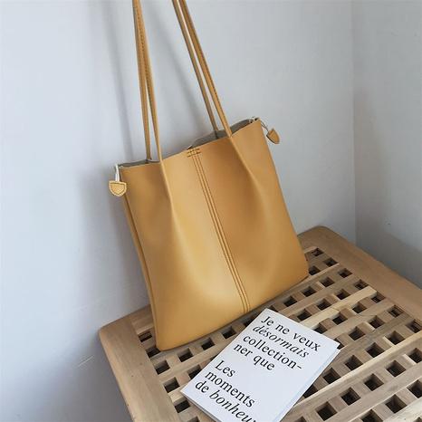 Fashion shoulder bag canvas soft leather portable tote bag shopping bag messenger bag NHJZ319468's discount tags