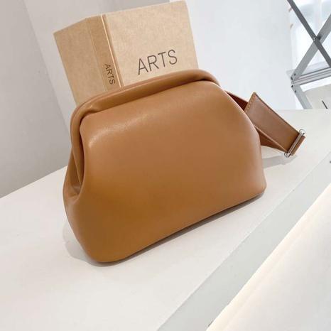 Fashion solid color clip bag bucket bag summer messenger bag NHJZ319471's discount tags