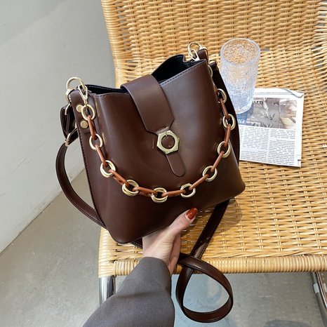 Women's Fashion Casual Korean Bucket Bag Shoulder Messenger Chain Bag  NHJZ319476's discount tags
