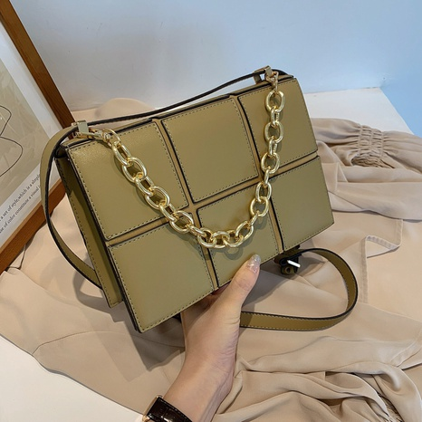 Fashion solid color chocolate square bag chain messenger bag NHJZ319477's discount tags