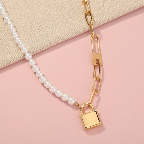 simple pearl stitching lattice chain lock-shaped necklace NHAN329586's discount tags