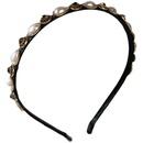 retro rhinestone pearl headband  NHOF329665