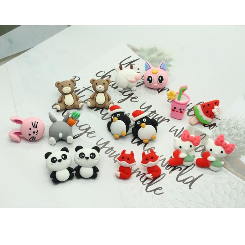 Korean asymmetrical animal resin earrings NHGO329694