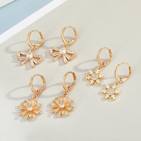 Korean diamond-studded zircon flower earring NHGO329696's discount tags