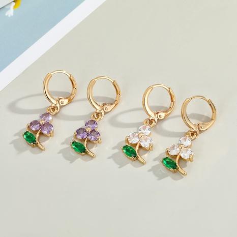 Korean diamond zircon four-leaf clover earrings NHGO329701's discount tags