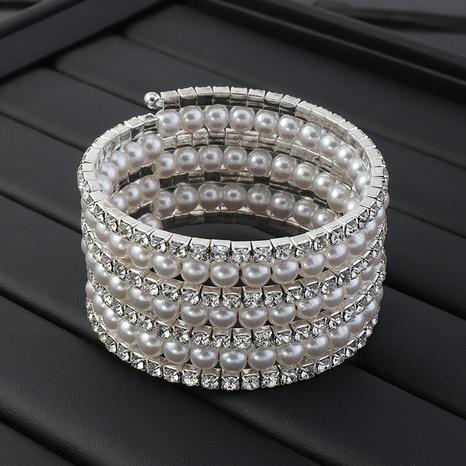Fashion rhinestone pearl multi-layer open bracelet NHNZ329749's discount tags
