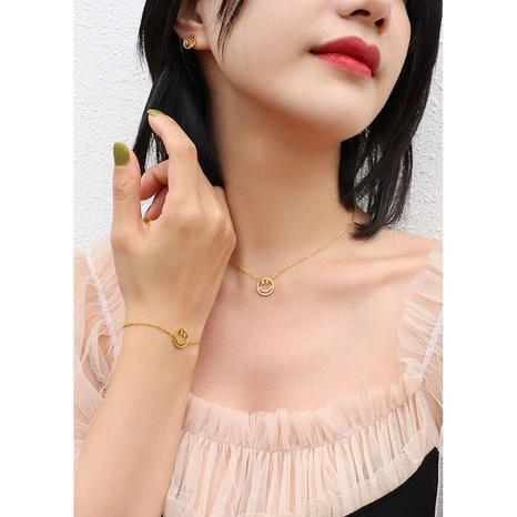 Smiley Titan Stahl Armband Halskette Ohrringe Set NHOK329755's discount tags