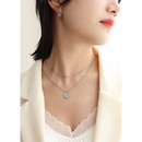 Fashion Cross Zircon Double Layer Round Titanium Steel Necklace NHOK329762