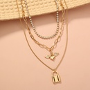 Fashion diamondstudded angel wing multilayer necklace wholesale NHAN329791