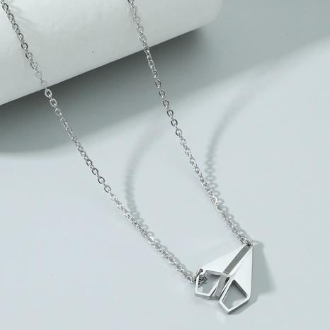 Mode Titan Stahl Papier Flugzeug Halskette Großhandel NHACH329826's discount tags