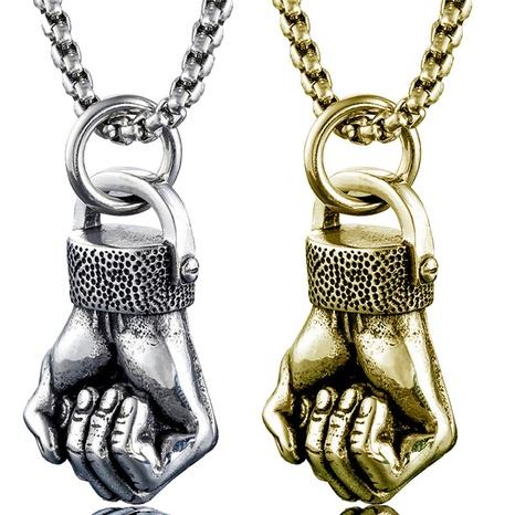 Einfache Faust Edelstahl Halskette Großhandel NHACH329831's discount tags