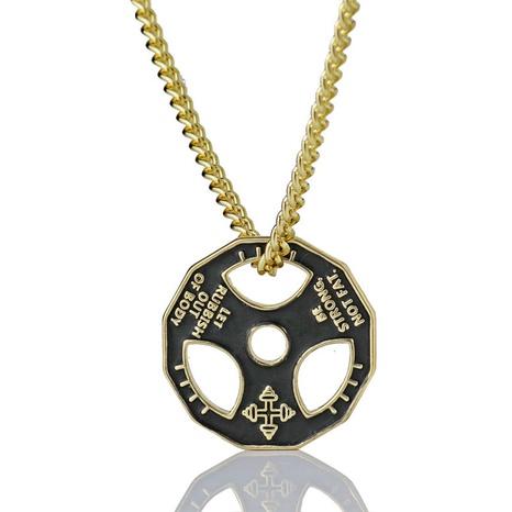 Einfache Hantel Edelstahl Halskette Großhandel NHACH329835's discount tags