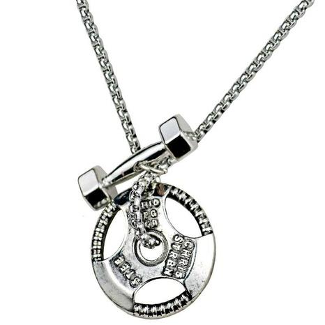 Hantel Langhantel Kombination Anhänger Edelstahl Halskette NHACH329836's discount tags
