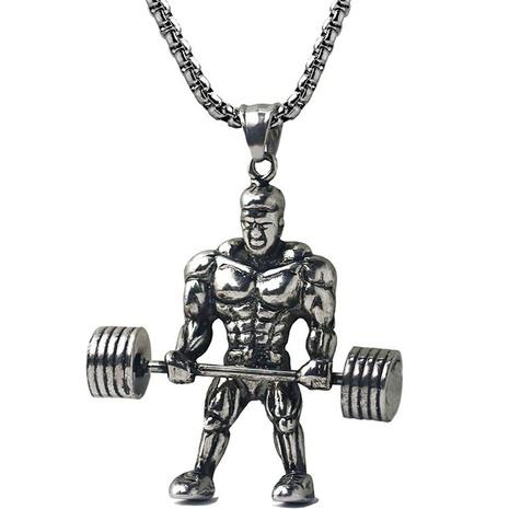 Einfache Gewichtheben Männer Edelstahl Halskette Großhandel NHACH329838's discount tags