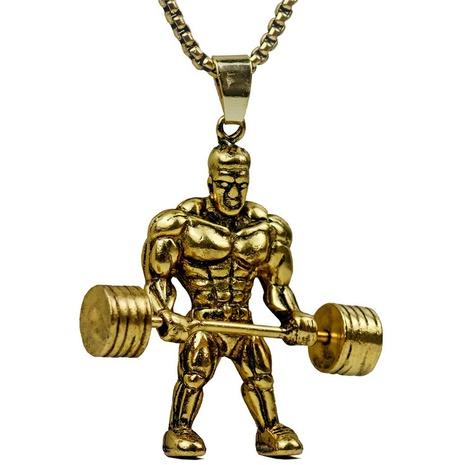 Einfache Gewichtheben Muskel Männer Edelstahl Halskette Großhandel NHACH329839's discount tags
