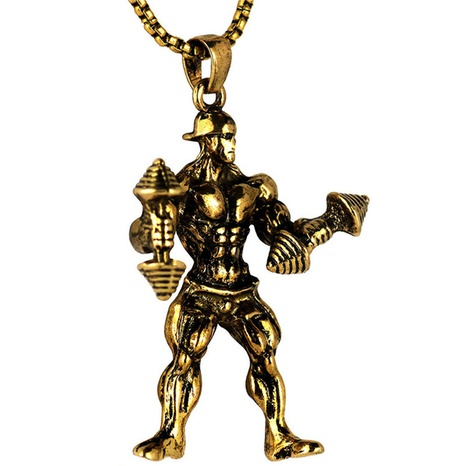 Einfache Gewichtheber Männer Edelstahl Halskette NHACH329840's discount tags