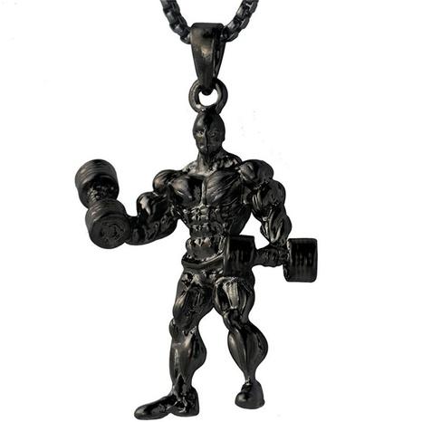 Einfache Gewichtheben Männer Metall Halskette Großhandel NHACH329841's discount tags