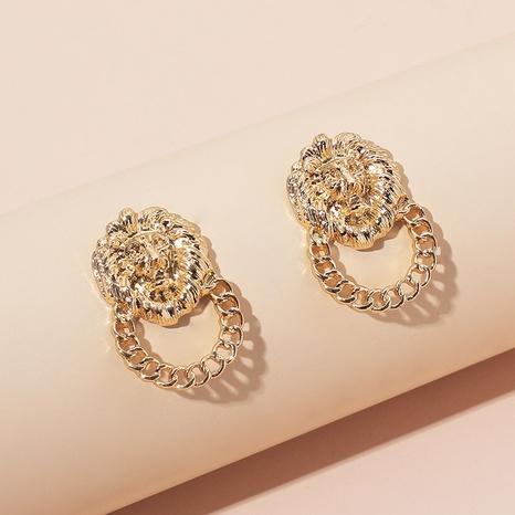 Retro golden lion alloy earrings wholesale NHRN329853's discount tags