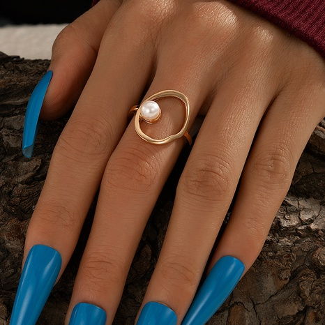 Fashion Simple Pearl Hollow Wild Ring NHGY330057's discount tags