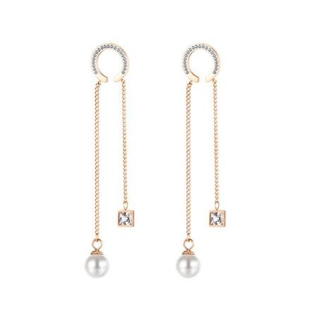 Fashion tassel stainless steel long pearl earrings NHOP329496's discount tags
