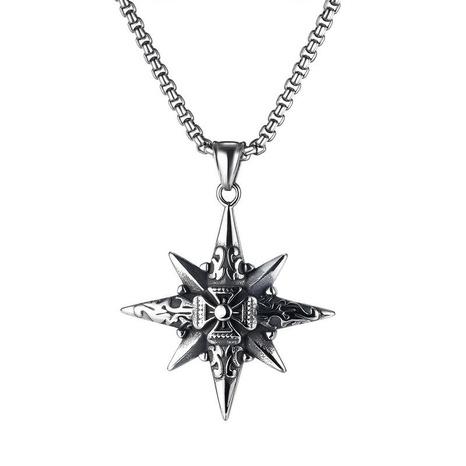 Mode Kreuz Titan Stahl achtzackige Stern Halskette NHOP329494's discount tags