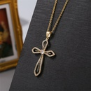 Simple copper inlaid zirconium cross necklace NHLA329888