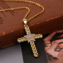 Simple copper inlaid zirconium cross star necklace NHLA329889